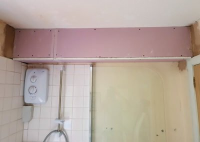 Plasterboard fitted part of a bathroom refurbishment. (Not yet plastered - obviously.)
